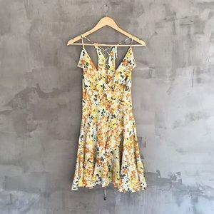 Kimchi Blue [UO] • Faux Wrap Flutter Floral Dress